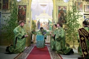 Длительное коленопреклонение во время чтения особых молитв за вечерней, в День Святой Троицы.